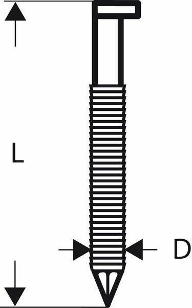 Hřebíky s hlavou tvaru D v pásu SN34DK 50R - 2,8 mm, 50 mm, bez povrchové úpravy, drážkova BOSCH