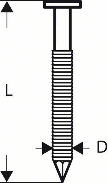 Hřebíky s kulatou hlavou v pásu SN21RK 65RHG - 2,8 mm, 65 mm, žárově pozinkovaný, drážkova BOSCH