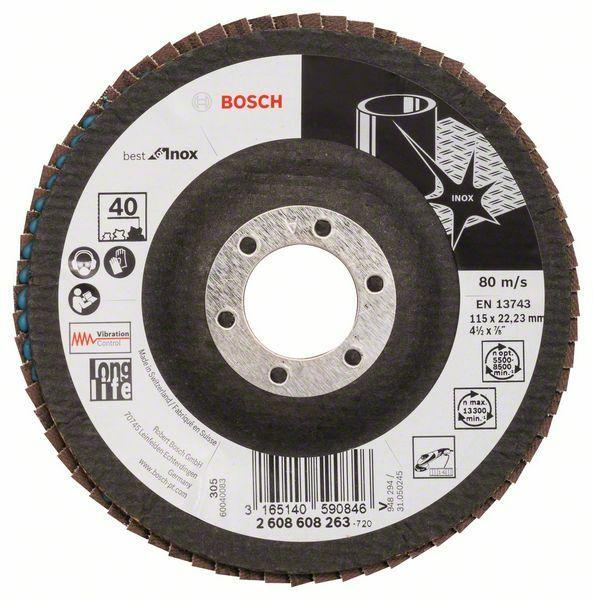 Lamelový brusný kotouč X581, Best for Inox; 115 mm, 22,23, 40 - 3165140590846 BOSCH
