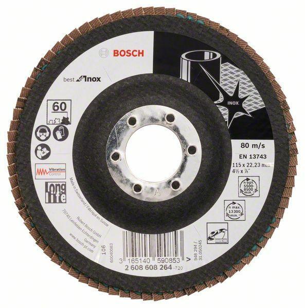 Lamelový brusný kotouč X581, Best for Inox; 115 mm, 22,23, 60 - 3165140590853 BOSCH