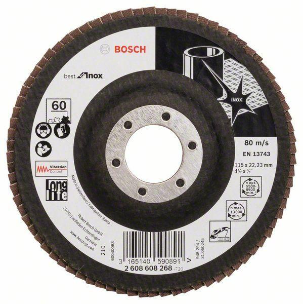Lamelový brusný kotouč X581, Best for Inox; 115 mm, 22,23, 60 (Balení 10 ks) BOSCH