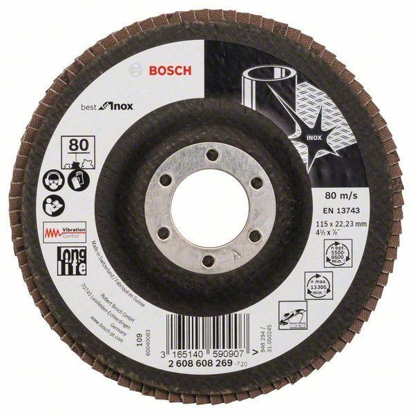 Lamelový brusný kotouč X581, Best for Inox; 115 mm, 22,23, 80 - 3165140590907 BOSCH