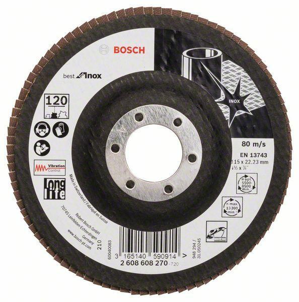 Lamelový brusný kotouč X581, Best for Inox; 115 mm, 22,23, 120 - 3165140590914 BOSCH