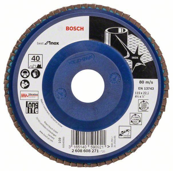 Lamelový brusný kotouč X581, Best for Inox; 115 mm, 22,23, 40 (Balení 10 ks) BOSCH