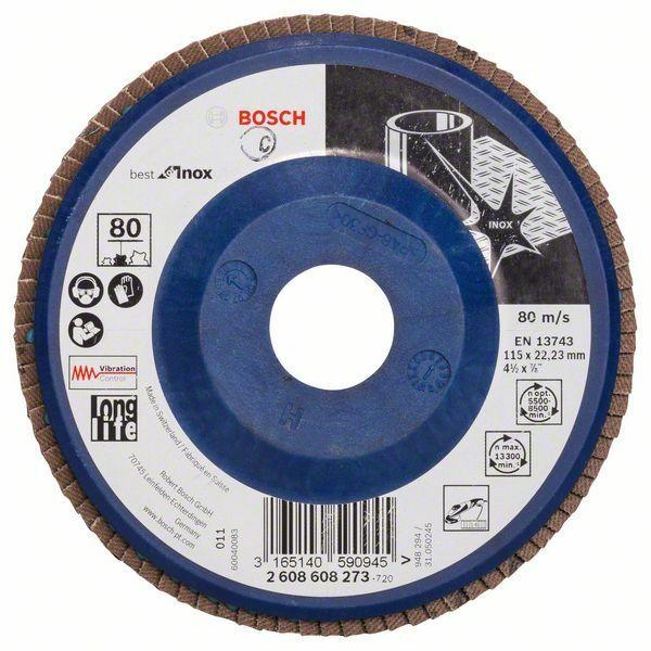 Lamelový brusný kotouč X581, Best for Inox; 115 mm, 22,23, 80 (Balení 10 ks) BOSCH