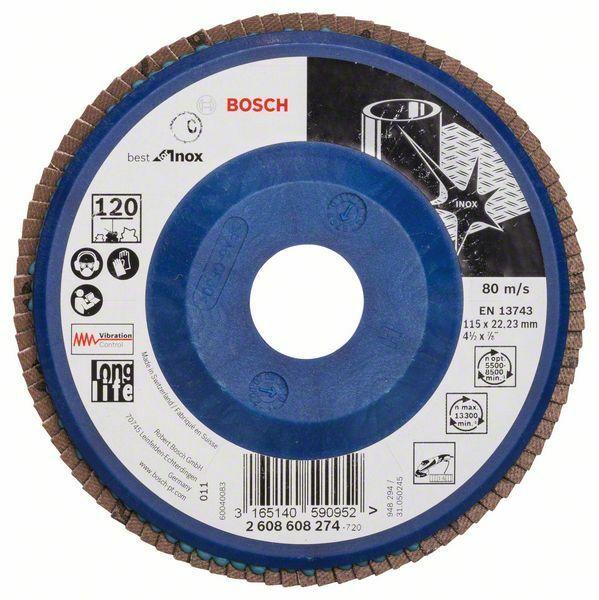 Lamelový brusný kotouč X581, Best for Inox; 115 mm, 22,23, 120 (Balení 10 ks) BOSCH