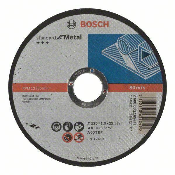 Dělicí kotouč rovný Standard for Metal - A 60 T BF, 125 mm, 22,23 mm, 1,6 mm - 31651406582 BOSCH
