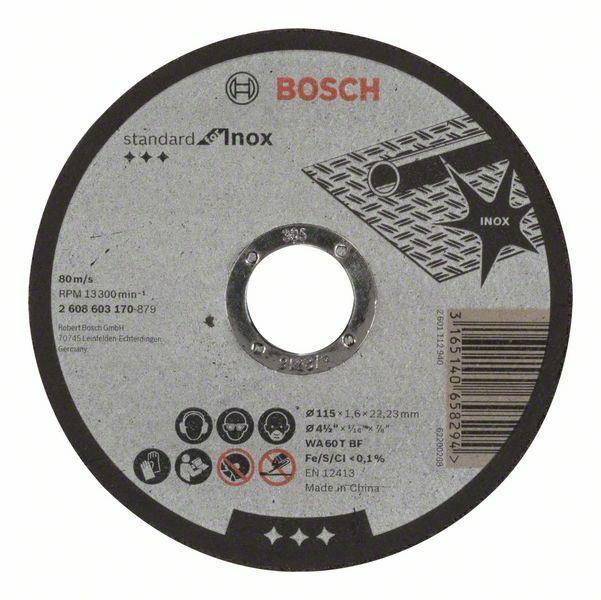 Dělicí kotouč rovný Standard for Inox - WA 60 T BF, 115 mm, 22,23 mm, 1,6 mm - 31651406582 BOSCH