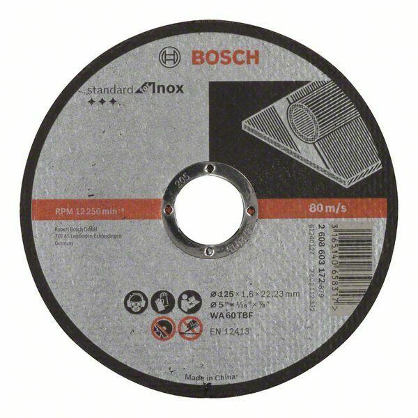 Dělicí kotouč rovný Standard for Inox - WA 60 T BF, 125 mm, 22,23 mm, 1,6 mm - 31651406583 BOSCH