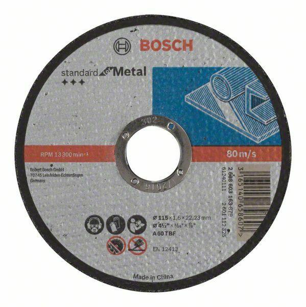 Dělicí kotouč rovný Standard for Metal - A 60 T BF, 115 mm, 22,23 mm, 1,6 mm - 31651406586 BOSCH