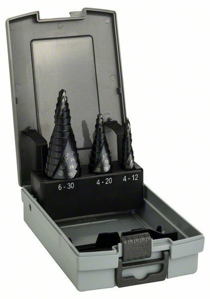 3dílná sada stupňovitých vrtáků HSS-AlTiN - 4-12; 4-20; 6-30 mm - 3165140666497 BOSCH