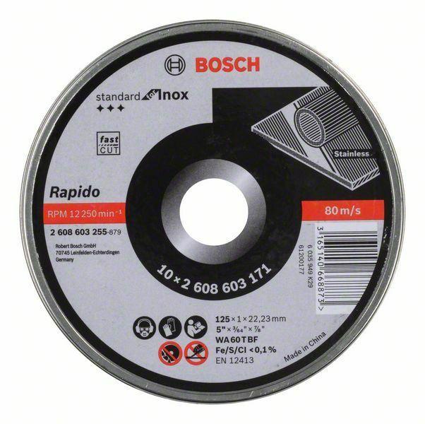 Dělicí kotouč rovný Standard for Inox - Rapido - WA 60 T BF, 125 mm, 22,23 mm, 1,0 mm - 31 BOSCH