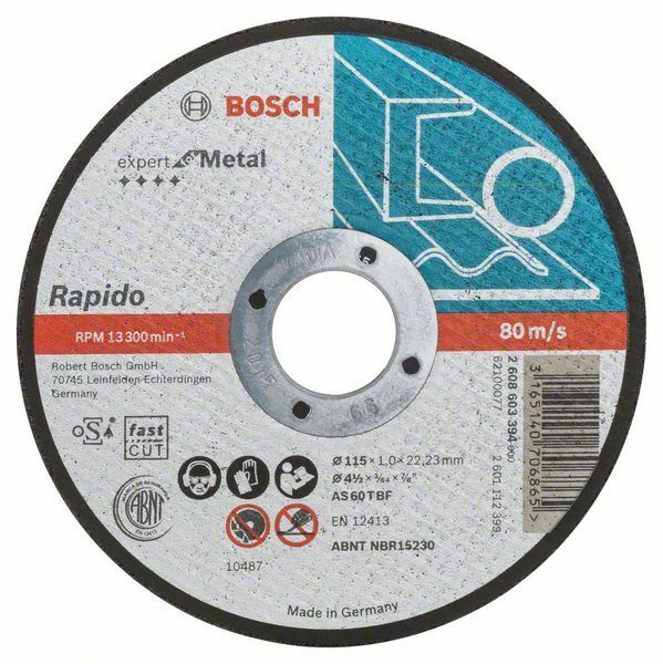 Dělicí kotouč rovný Expert for Metal – Rapido - AS 60 T BF, 115 mm, 1,0 mm - 3165140706865 BOSCH