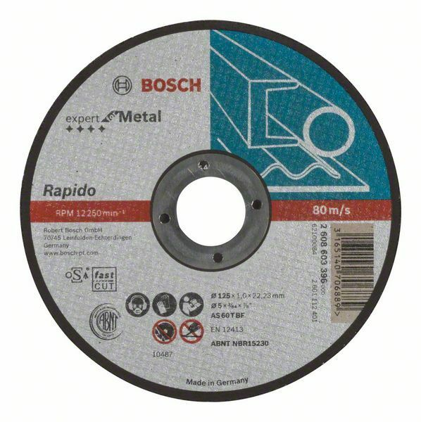 Dělicí kotouč rovný Expert for Metal – Rapido - AS 60 T BF, 125 mm, 1,0 mm - 3165140706889 BOSCH