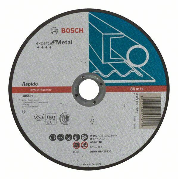 Dělicí kotouč rovný Expert for Metal – Rapido - AS 46 T BF, 180 mm, 1,6 mm - 3165140706919 BOSCH
