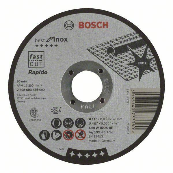 Dělicí kotouč rovný Best for Inox – Rapido - A 60 W INOX BF, 115 mm, 0,8 mm - 316514073338 BOSCH