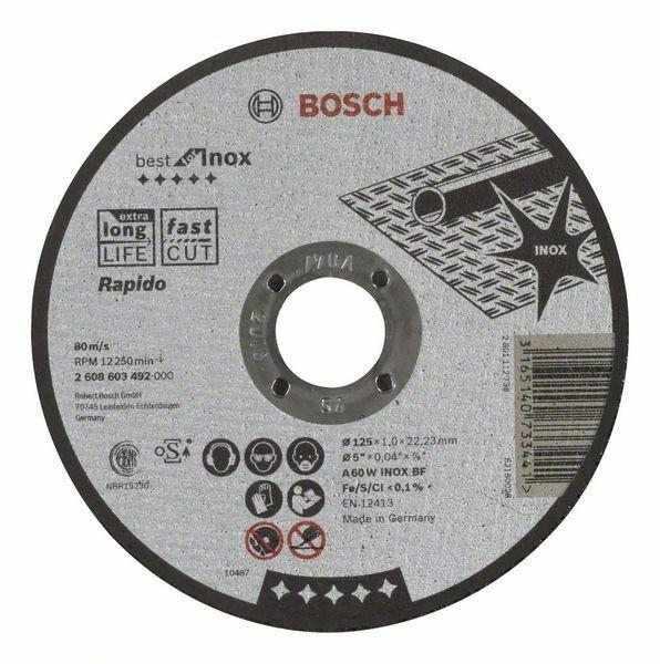Dělicí kotouč rovný Best for Inox – Rapido - A 60 W INOX BF, 125 mm, 1,0 mm - 316514073344 BOSCH