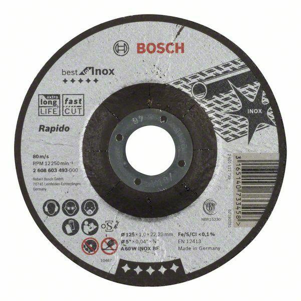 Dělicí kotouč profilovaný Best for Inox – Rapido - A 60 W INOX BF, 125 mm, 1,0 mm - 316514 BOSCH