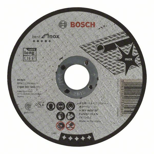 Dělicí kotouč rovný Best for Inox - A 30 V INOX BF, 125 mm, 2,5 mm - 3165140733564 BOSCH