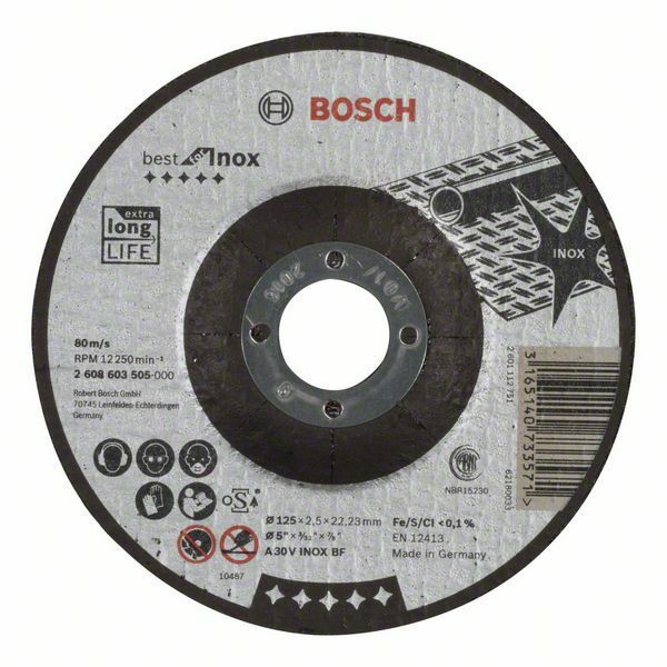 Dělicí kotouč profilovaný Best for Inox - A 30 V INOX BF, 125 mm, 2,5 mm - 3165140733571 BOSCH