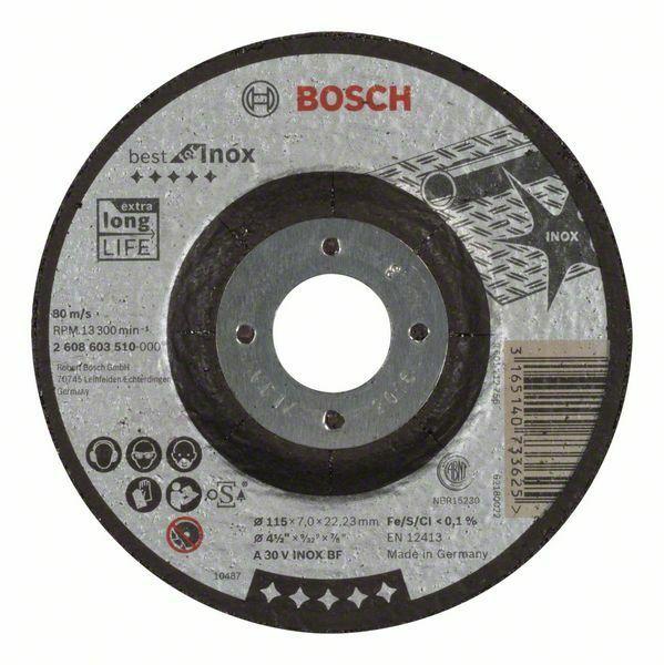 Hrubovací kotouč profilovaný Best for Inox - A 30 V INOX BF, 115 mm, 7,0 mm - 316514073362 BOSCH