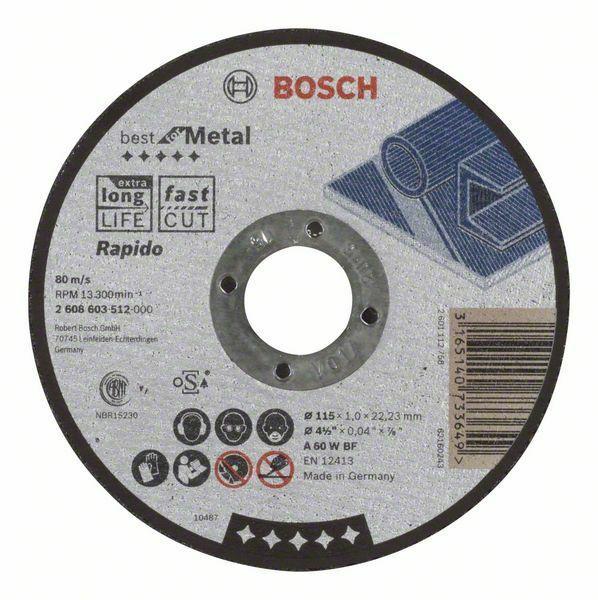 Dělicí kotouč rovný Best for Metal – Rapido - A 60 W BF, 115 mm, 1,0 mm - 3165140733649 BOSCH