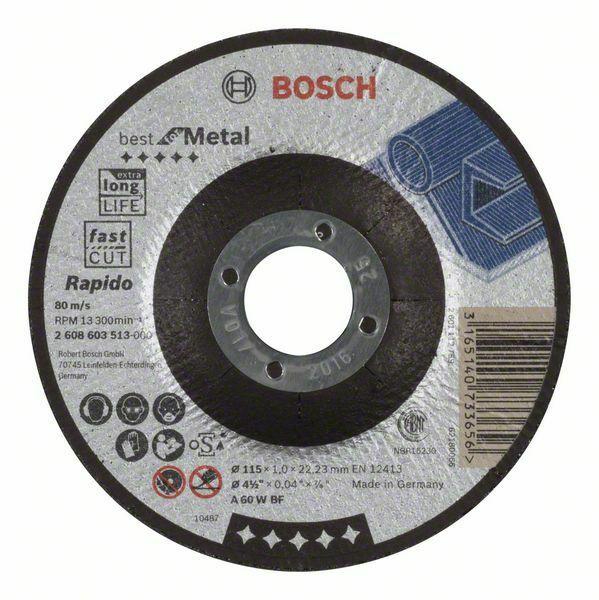 Dělicí kotouč profilovaný Best for Metal – Rapido - A 60 W BF, 115 mm, 1,0 mm - 3165140733 BOSCH