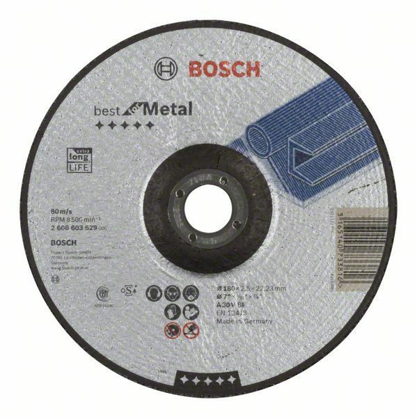 Dělicí kotouč profilovaný Best for Metal - A 30 V BF, 180 mm, 2,5 mm - 3165140733816 BOSCH