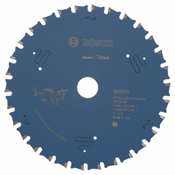 Pilový kotouč do okružních pil Expert for Steel - 160 x 20 x 2,0 mm, 30 BOSCH