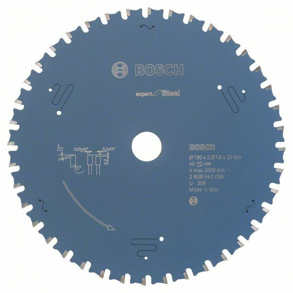 Pilový kotouč do okružních pil Expert for Steel - 190 x 20 x 2,0 mm, 40 BOSCH