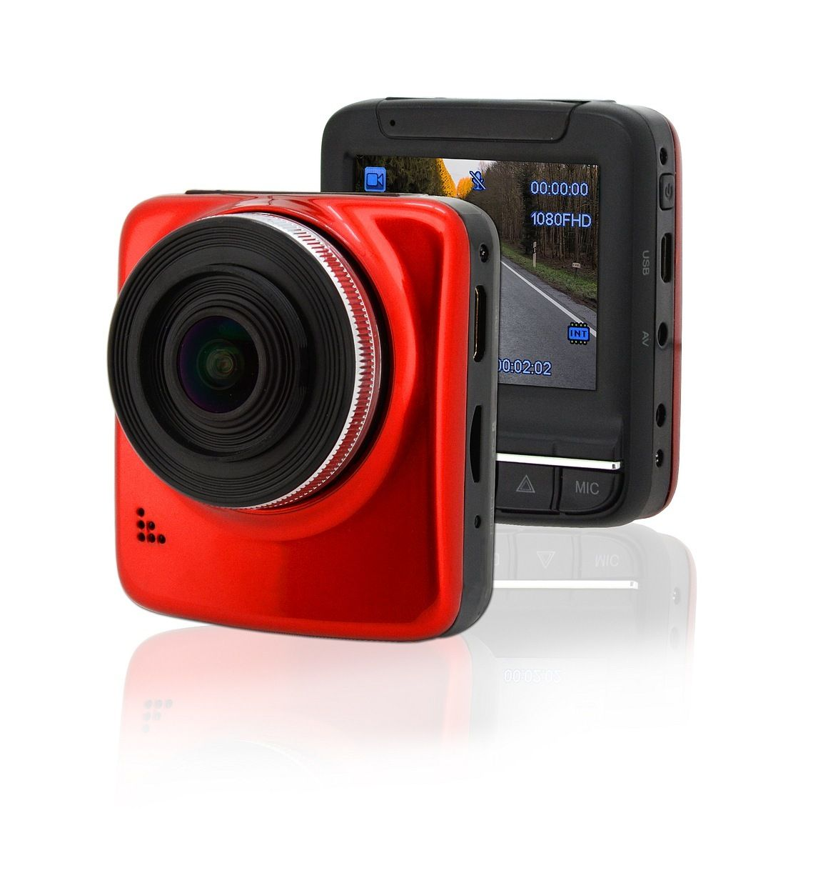 "Kamera do auta Full HD 2,4"" červená GPS, COMPASS"