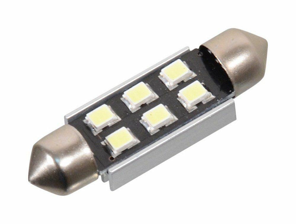 Žárovka 6 SMD LED 12V suf. SV8.5 38mm s rezistorem CAN-BUS bílá, COMPASS