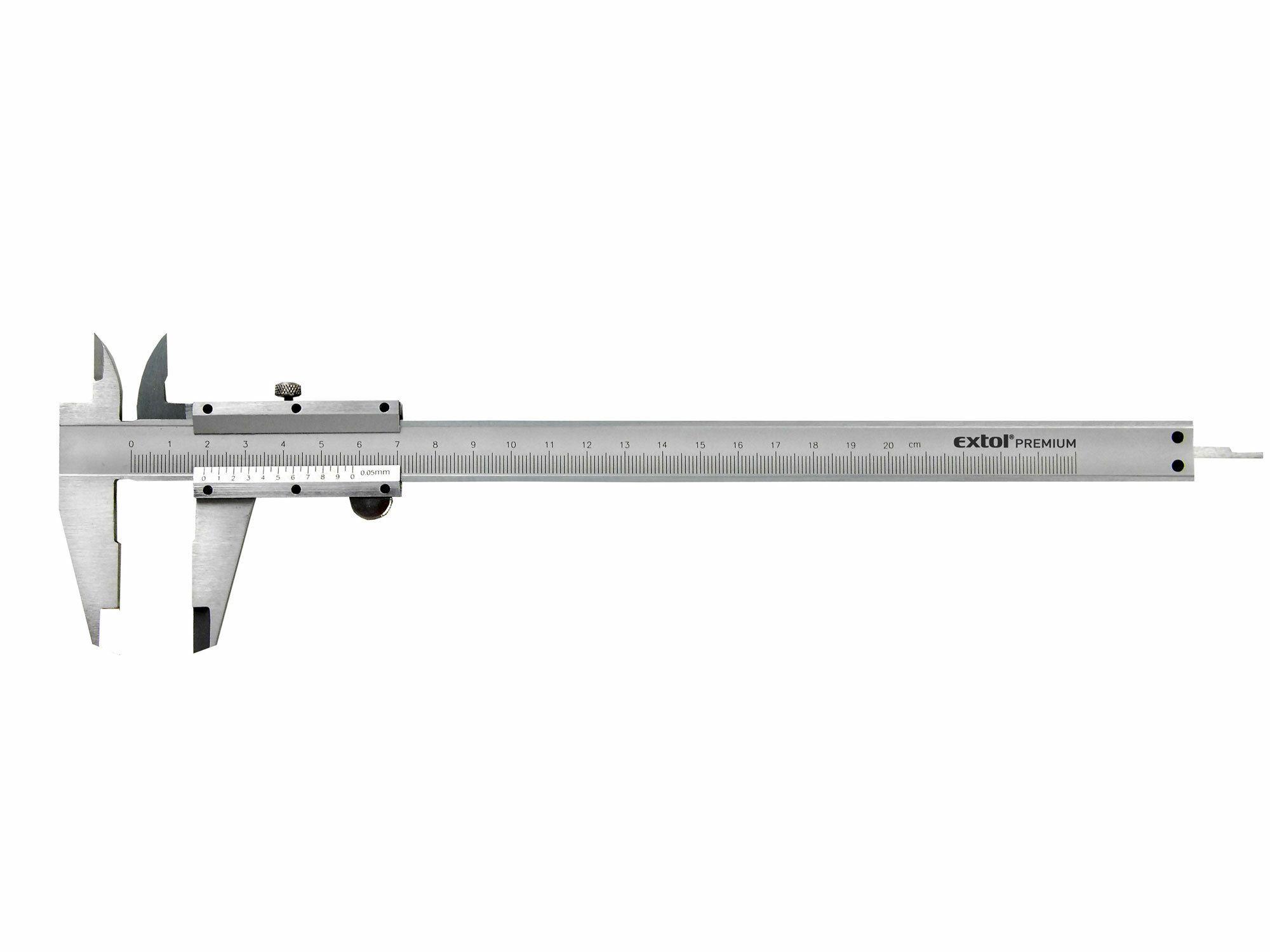 Měřítko posuvné kovové, dva typy čelistí pro různé typy měření, hloubkoměr EXTOL-CRAFT