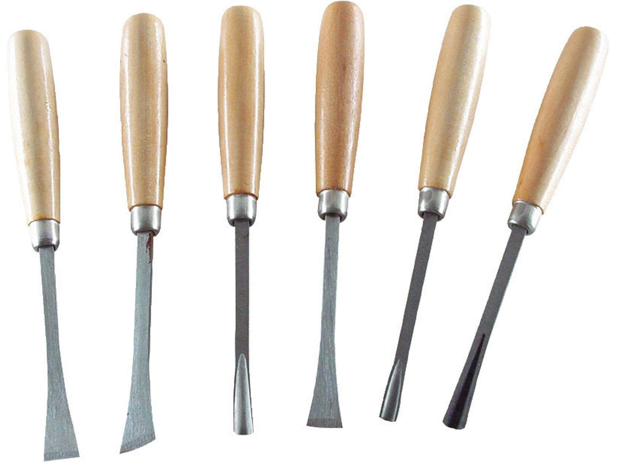 Dláta řezbářská s dřevěnou rukojetí, sada 6ks, délka dlát 165mm, EXTOL CRAFT 3936