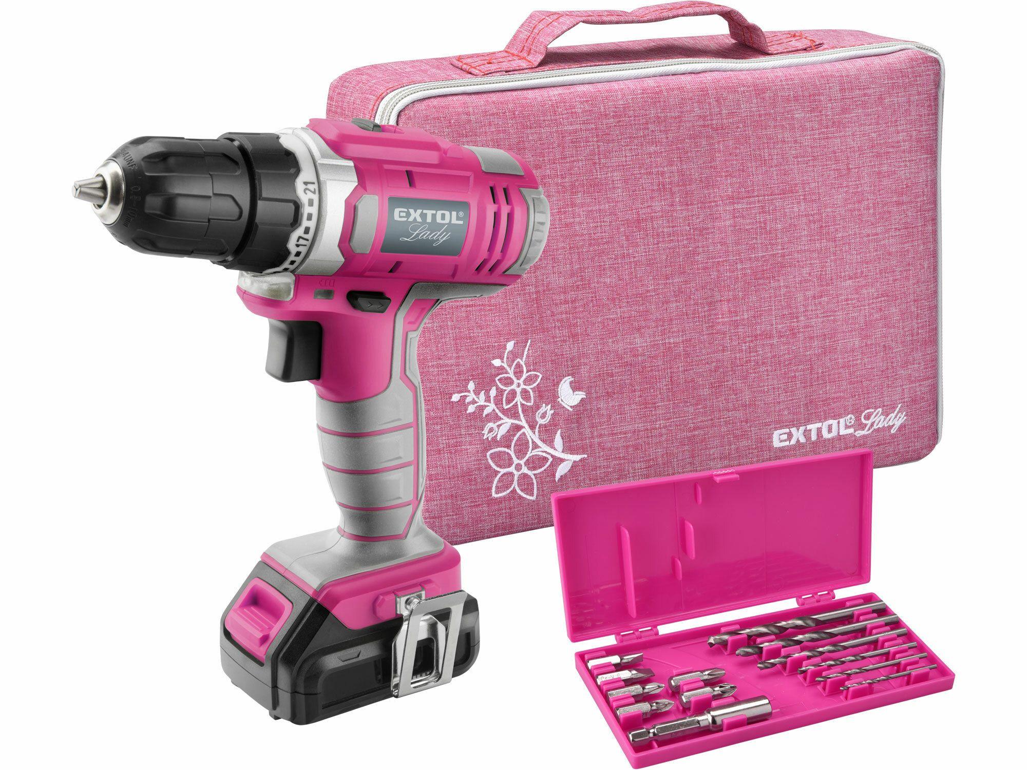 Vrtací šroubovák aku, růžový, 1x1300mAh, 12V Li-Ion, sada v tašce, EXTOL LADY, 402401 EXTOL-LADY