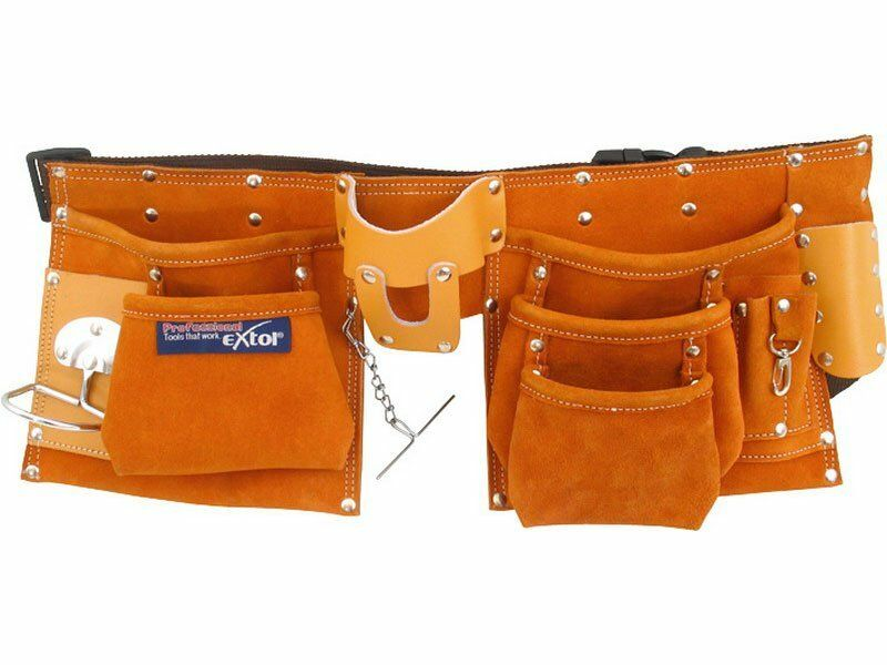 Pás na nářadí kožený, 9 kapes (2 velké, 3 střední, 4 malé) EXTOL EXTOL PREMIUM