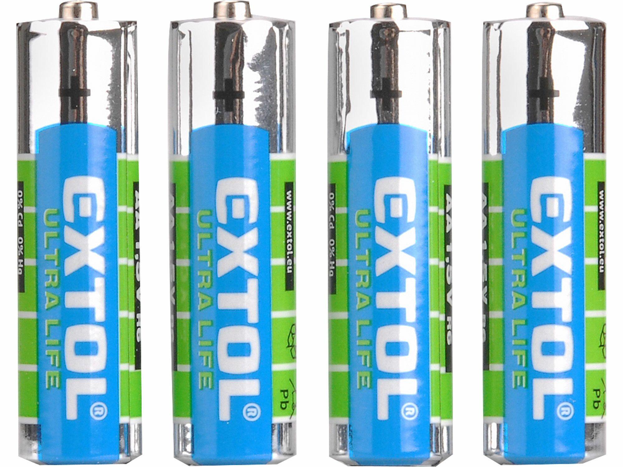 Baterie zink-chloridové, 4ks, 1,5V AAA (LR03), EXTOL LIGHT