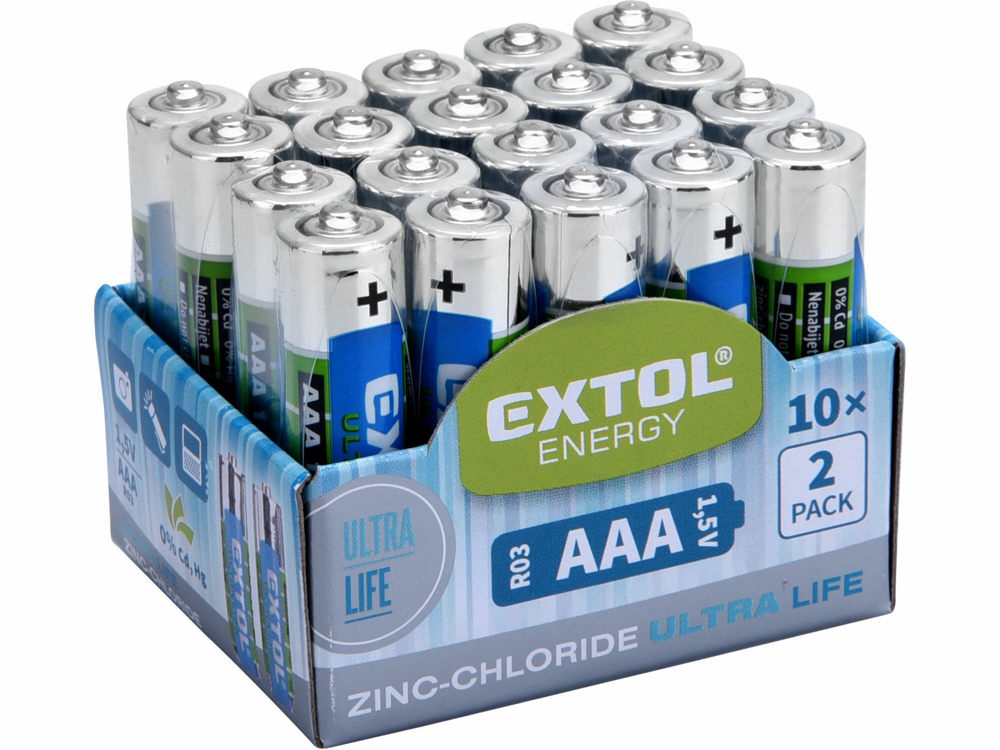 Baterie zink-chloridové, 20ks, 1,5V AAA (R03) EXTOL-LIGHT