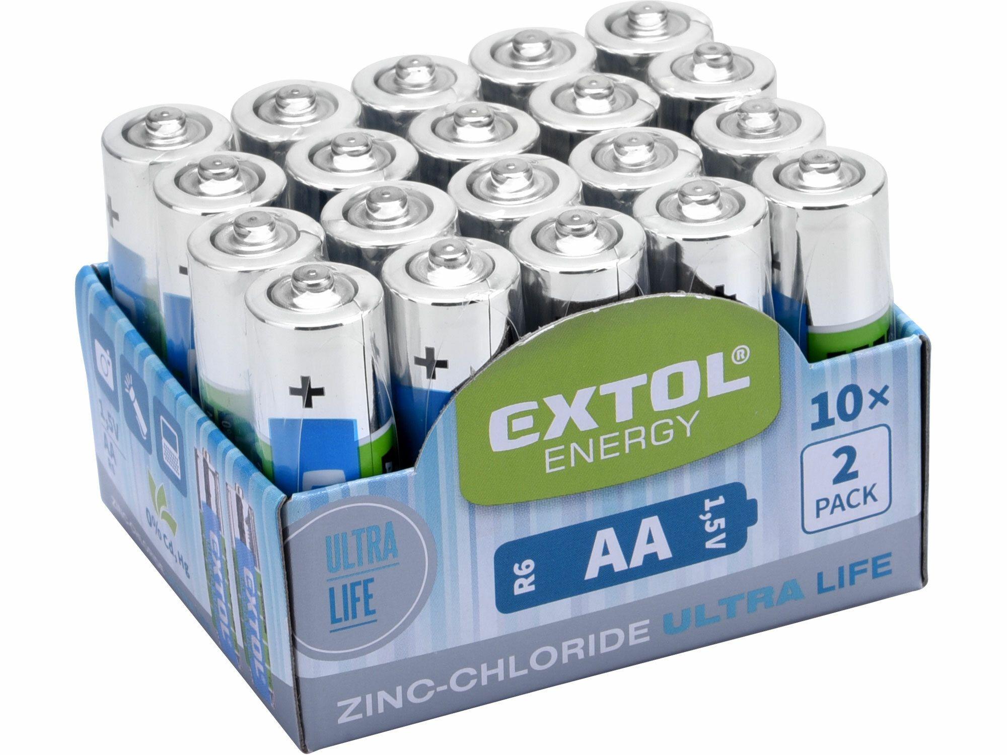 Baterie zink-chloridové, 20ks, 1,5V AA (R6), EXTOL ENERGY
