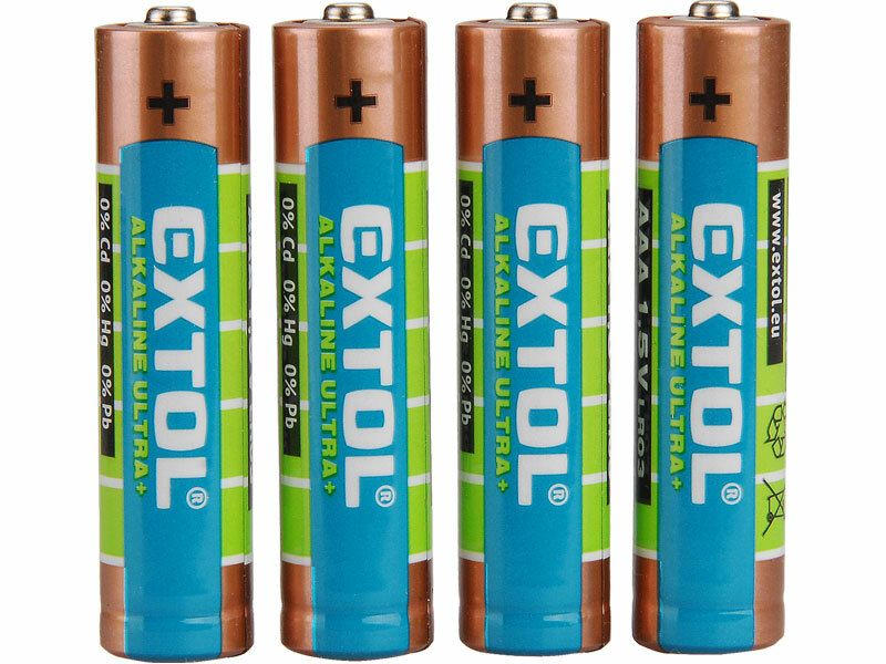 Baterie alkalické EXTOL ENERGY ULTRA +, 4ks, 1,5V AAA (LR03)