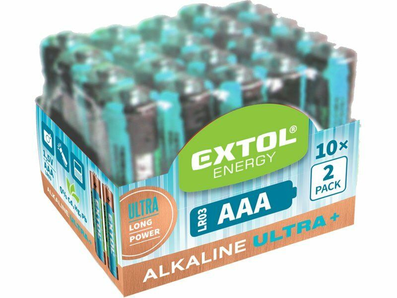 Baterie alkalické EXTOL ENERGY ULTRA +, 20ks, 1,5V AAA (LR03), EXTOL LIGHT