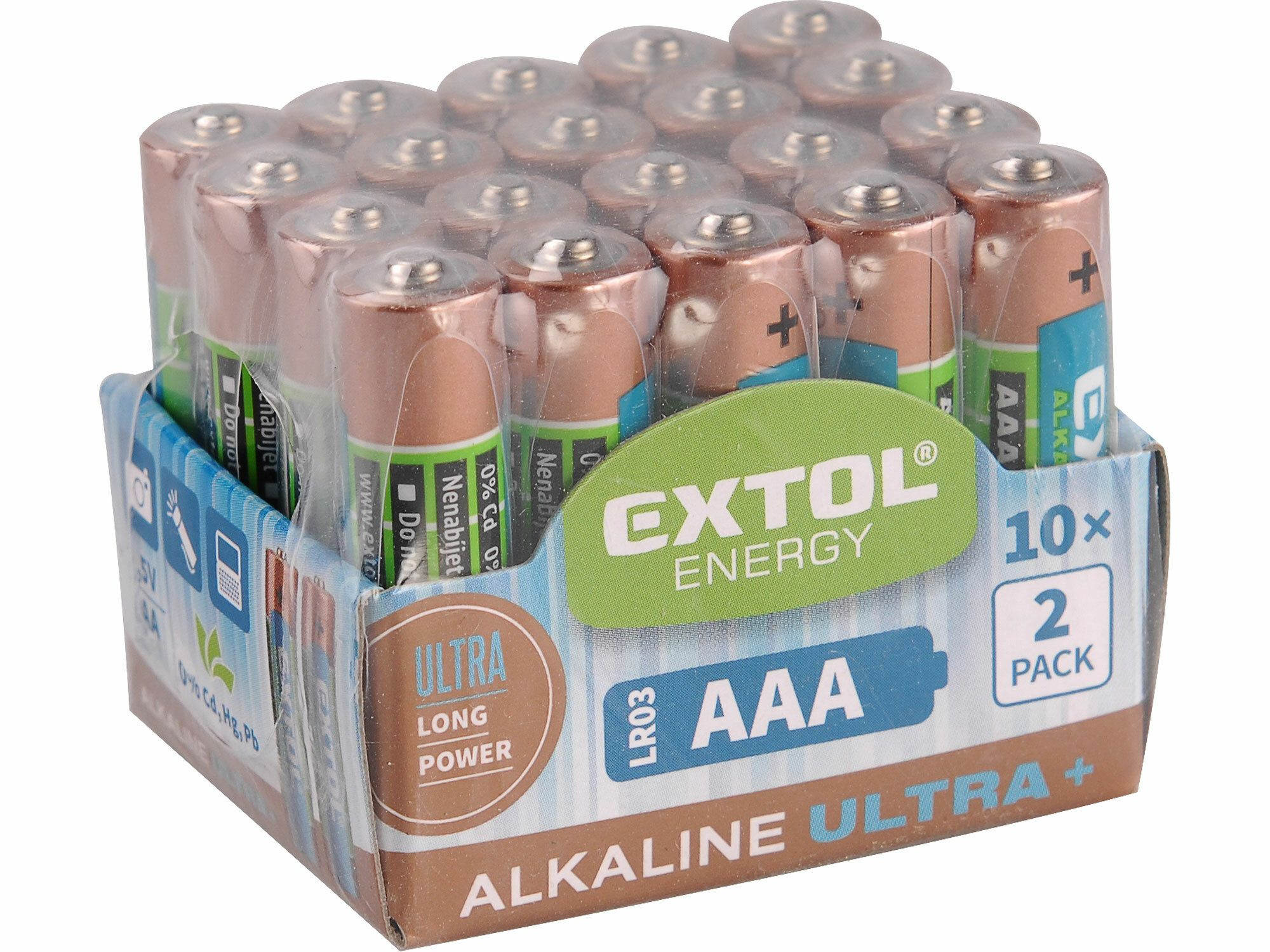 Baterie alkalické EXTOL ENERGY ULTRA , 20ks, 1,5V AA (LR6), EXTOL LIGHT