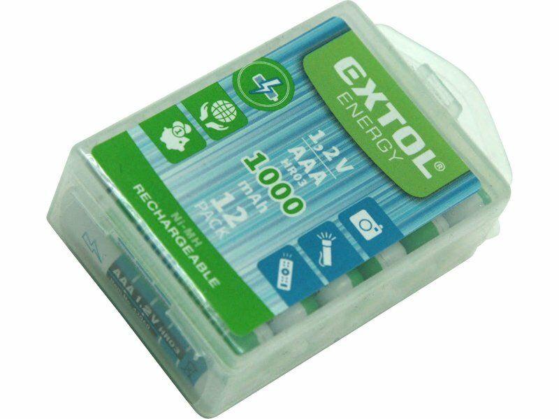 Baterie nabíjecí, 12ks, AAA (HR03), 1,2V, 1000mAh, NiMh, EXTOL ENERGY