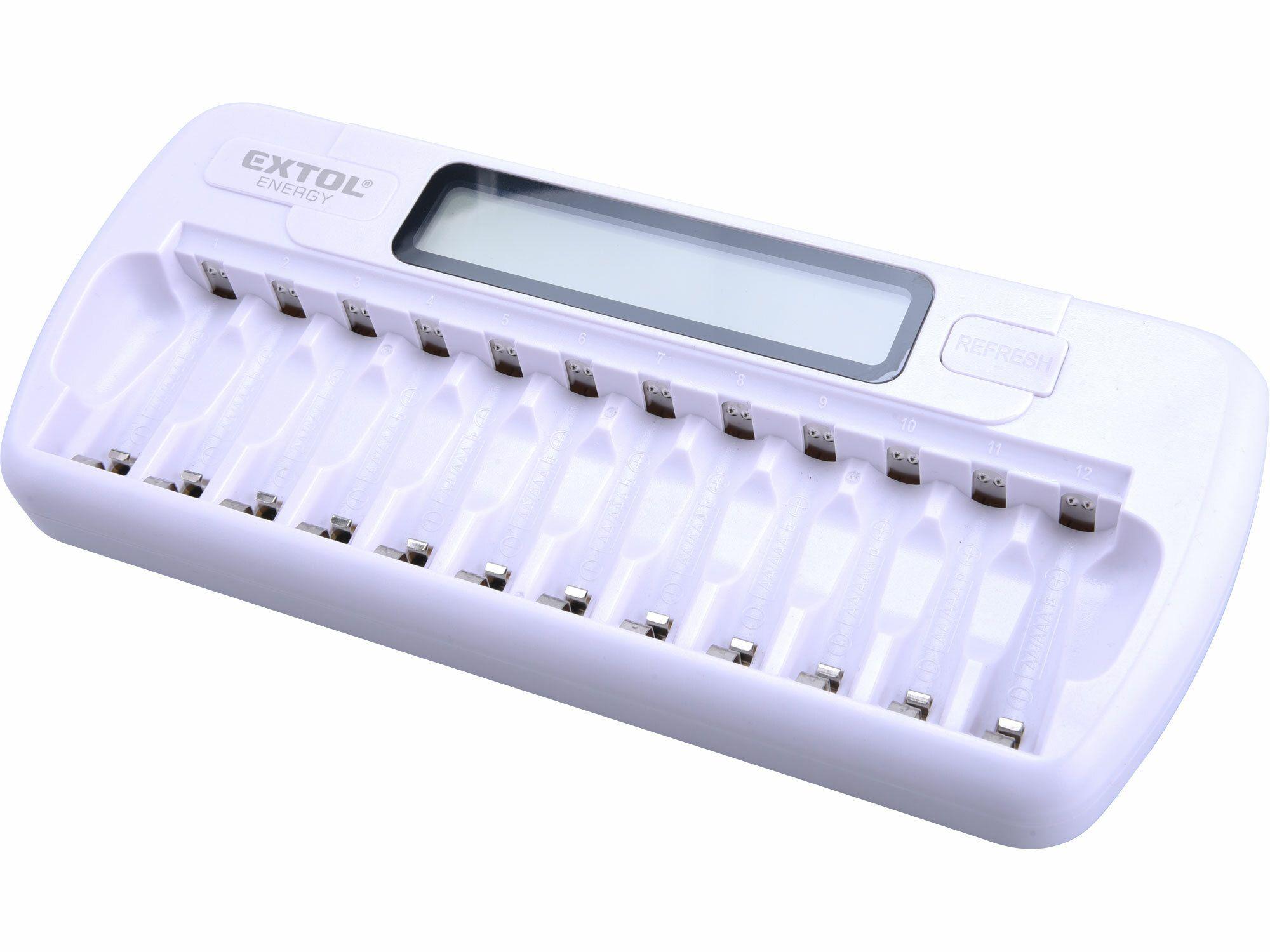 Nabíječka baterií AAA/AA, NiMh/NiCd, 12 slotů, individuální nabíjení, LCD EXTOL ENERGY