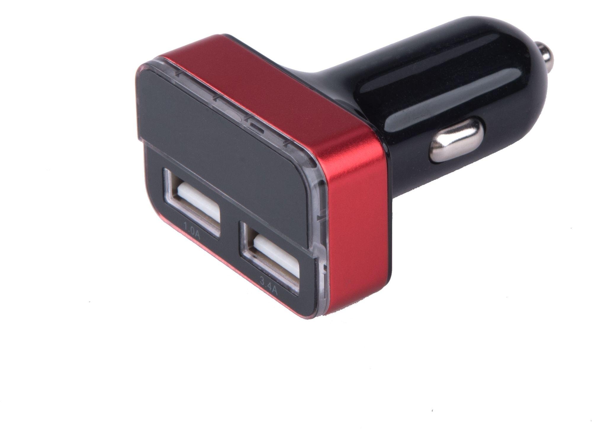Nabíječka USB do auta, 12/24V, 2xUSB, měřič, 3,4A, 17W EXTOL-LIGHT