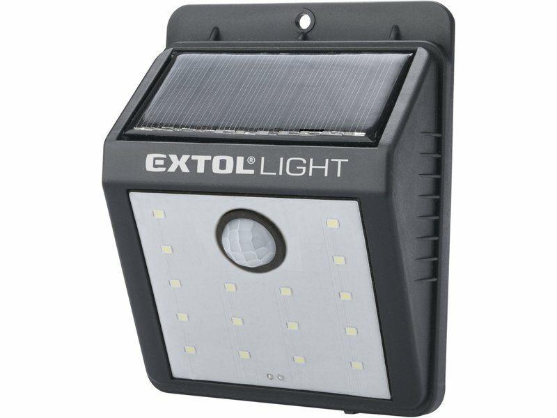 Světlo nástěnné s pohybovým čidlem, 120lm, solární nabíjení, EXTOL LIGHT