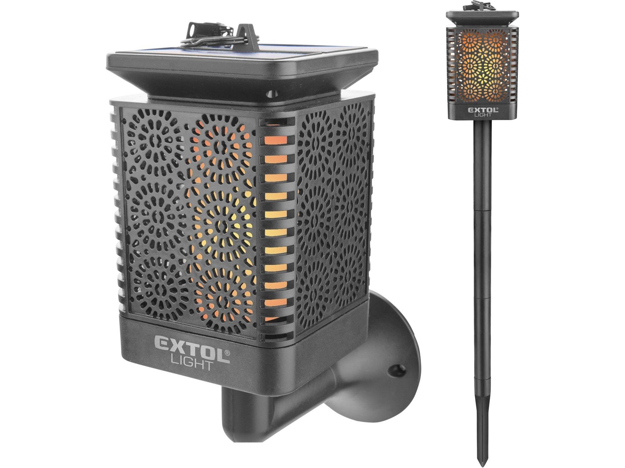 Levně Pochodeň LED s plamenem, solární nabíjení, 12x LED EXTOL-LIGHT