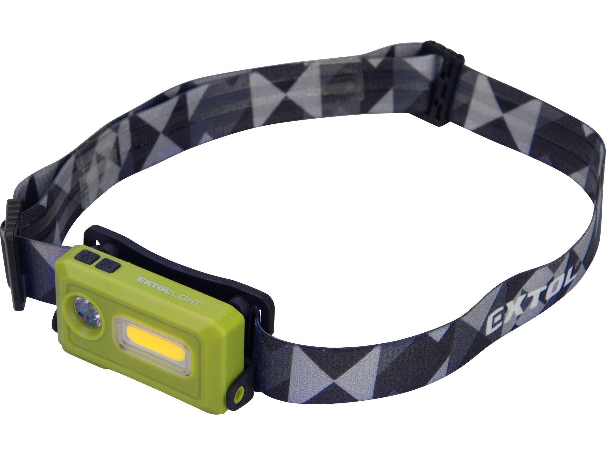 Čelovka 140lm, USB nabíjení, LED+COB LED EXTOL-LIGHT
