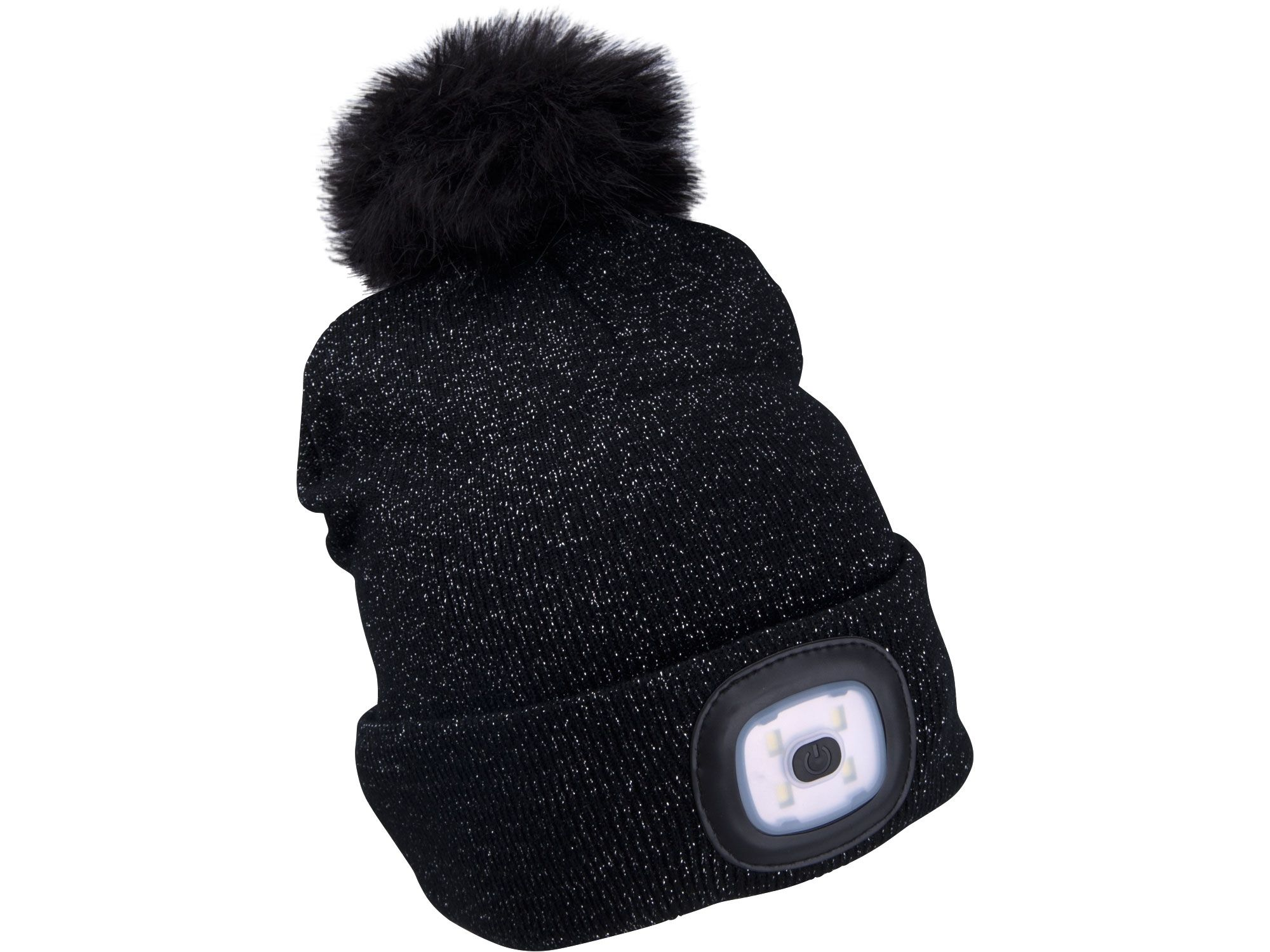 Čepice s čelovkou 4x45lm, USB nabíjení, černá se třpytkou a bambulí, univerzální velikost EXTOL-LIGHT