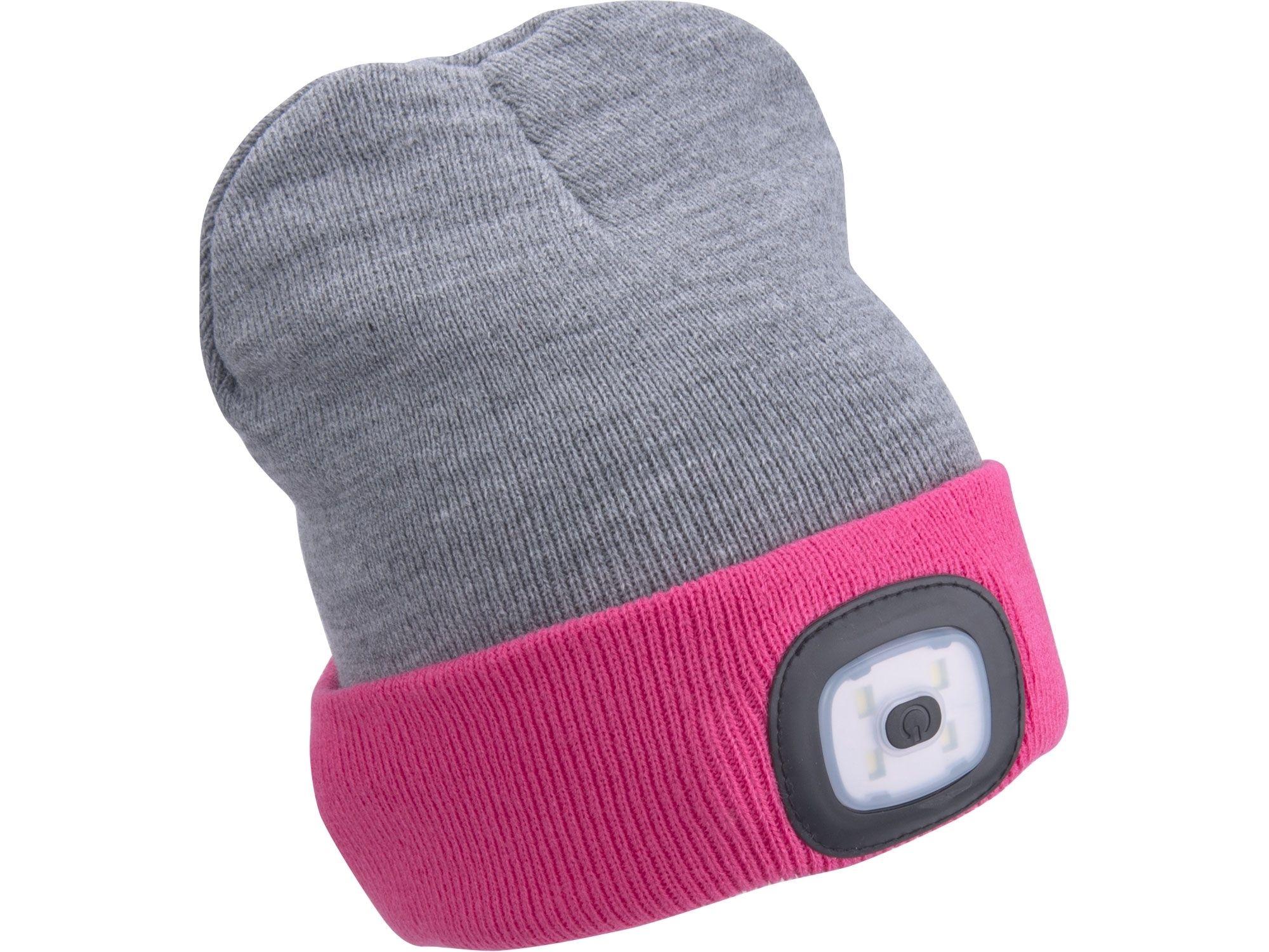 Čepice s čelovkou 4x45lm, USB nabíjení, světle šedá/růžová, oboustranná, univerzální vel. EXTOL-LIGHT